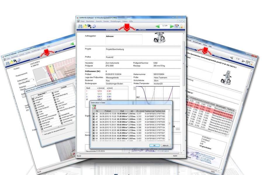 Software ZORN FG pro tisk protokolů a archivaci výsledků měření