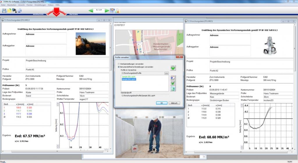 Software ZORN FG pro tisk protokolů a archivaci výsledků měření, fotografie 3/2