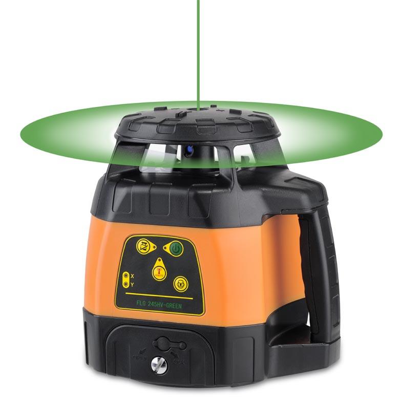 Zelený rotační laser FLG 245HV-Green pro vodorovnou i svislou rovinu a sklon v osách X a Y