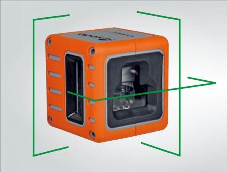 Cube Green je zelený křízový laser s přesností +/- 3mm / 10m a dosahem 25m